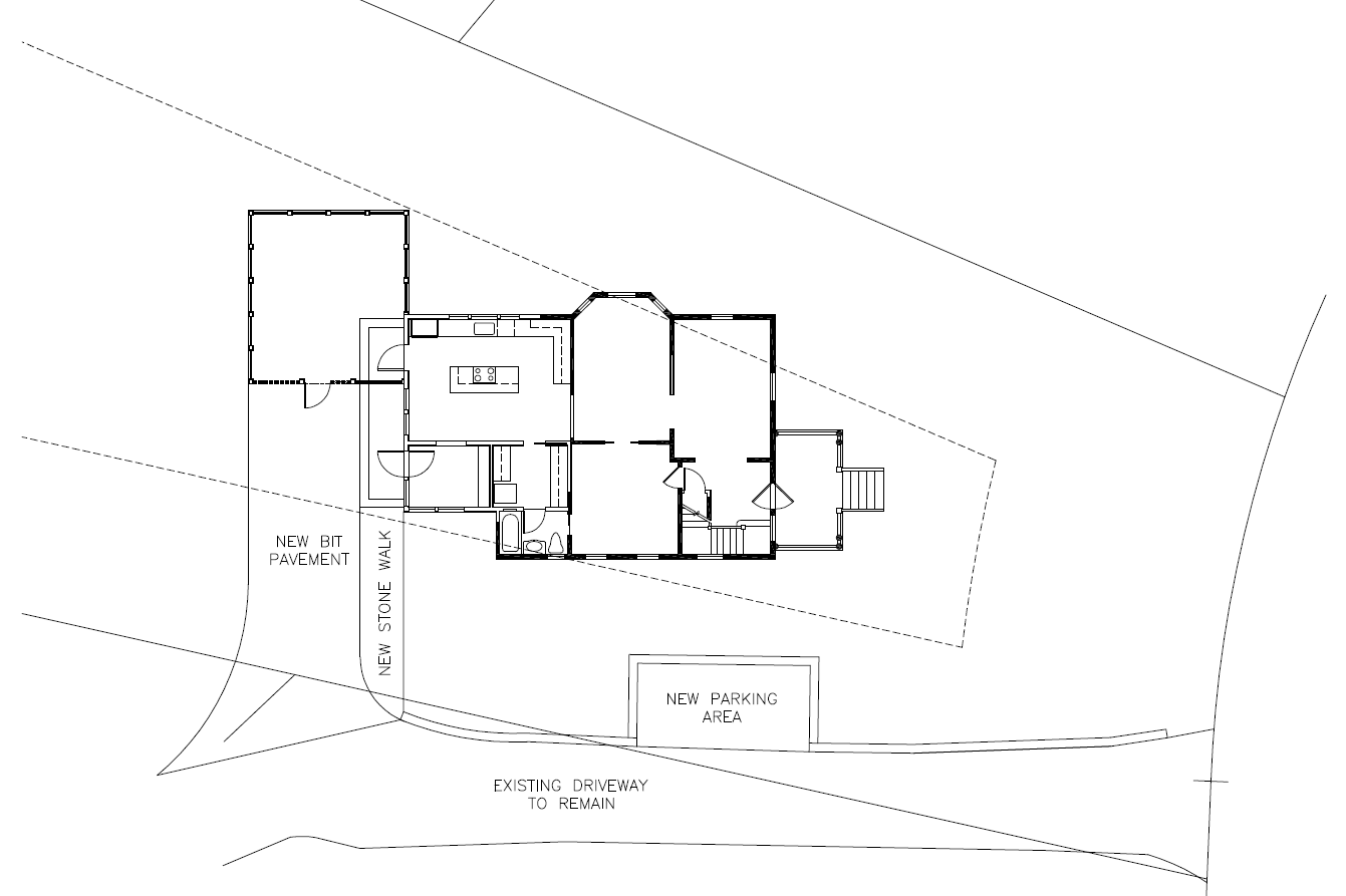 Proposed architectural site plan illustrating new driveway dimensions